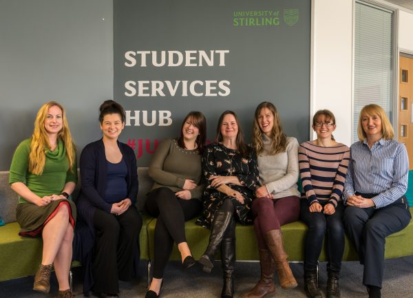Group photo of the Student Hub team at the University of Stirling