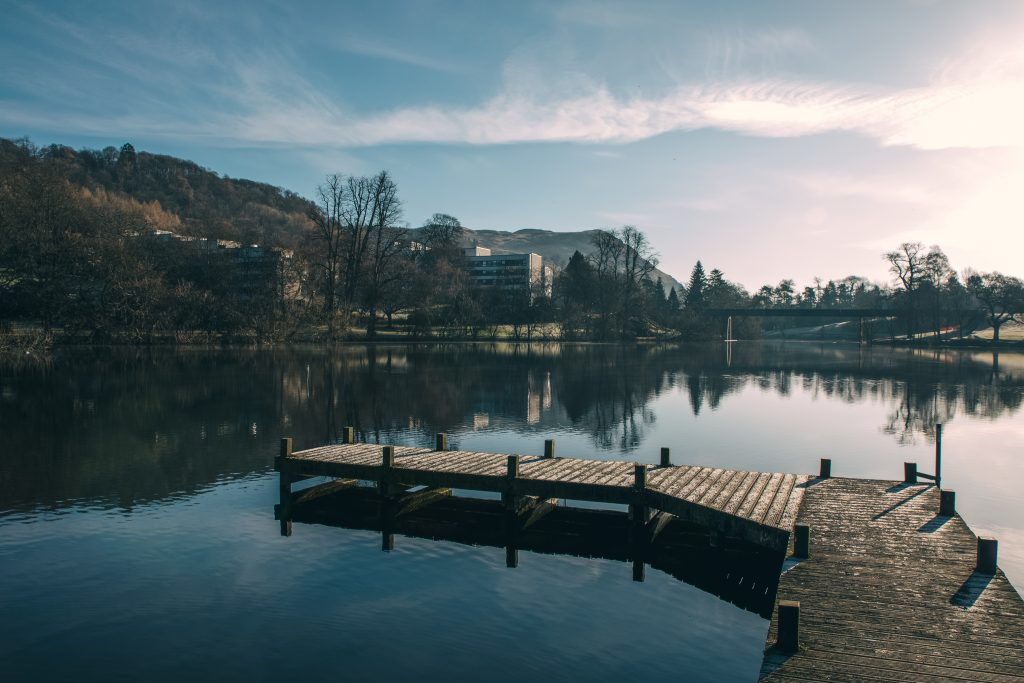 Airthrey Loch on the University of Stirling campus – one of the many great reasons to study in Scotland.