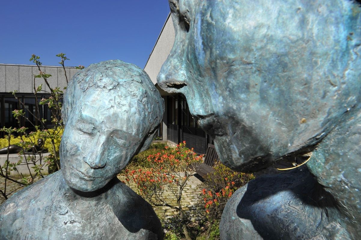 Adam and Eve sculpture outside the Pathfoot building