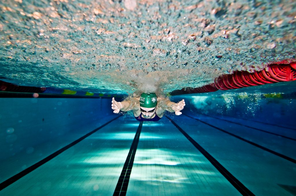 An underwater photo of a University of Stirling swimmer in the swimming pool.