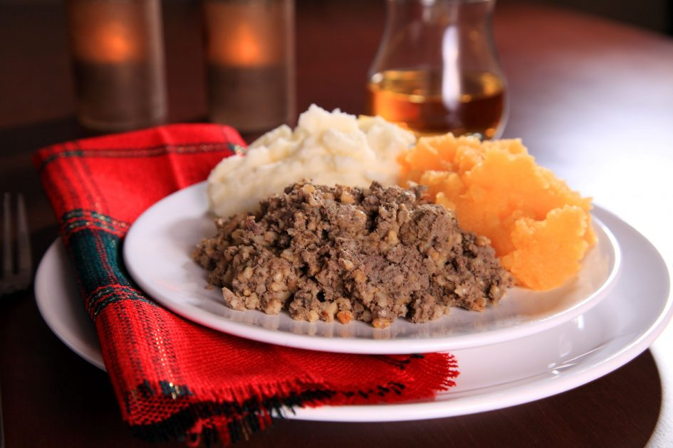 Image of a traditional Burns supper of haggic, potatoes and turnips.