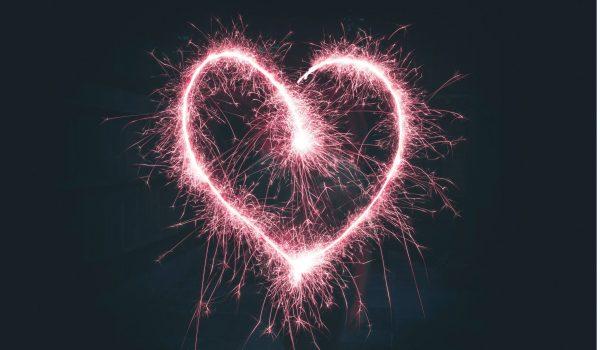 Pink heart shaped sparkler