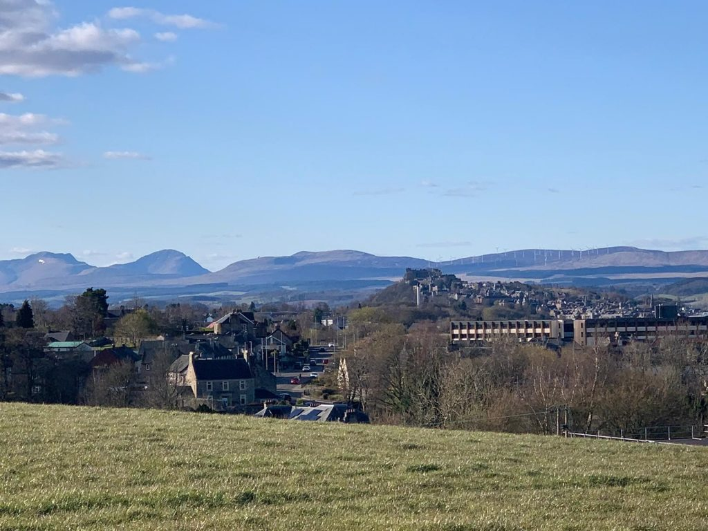 View from Bannockburn of Stirling and surrounding hills.